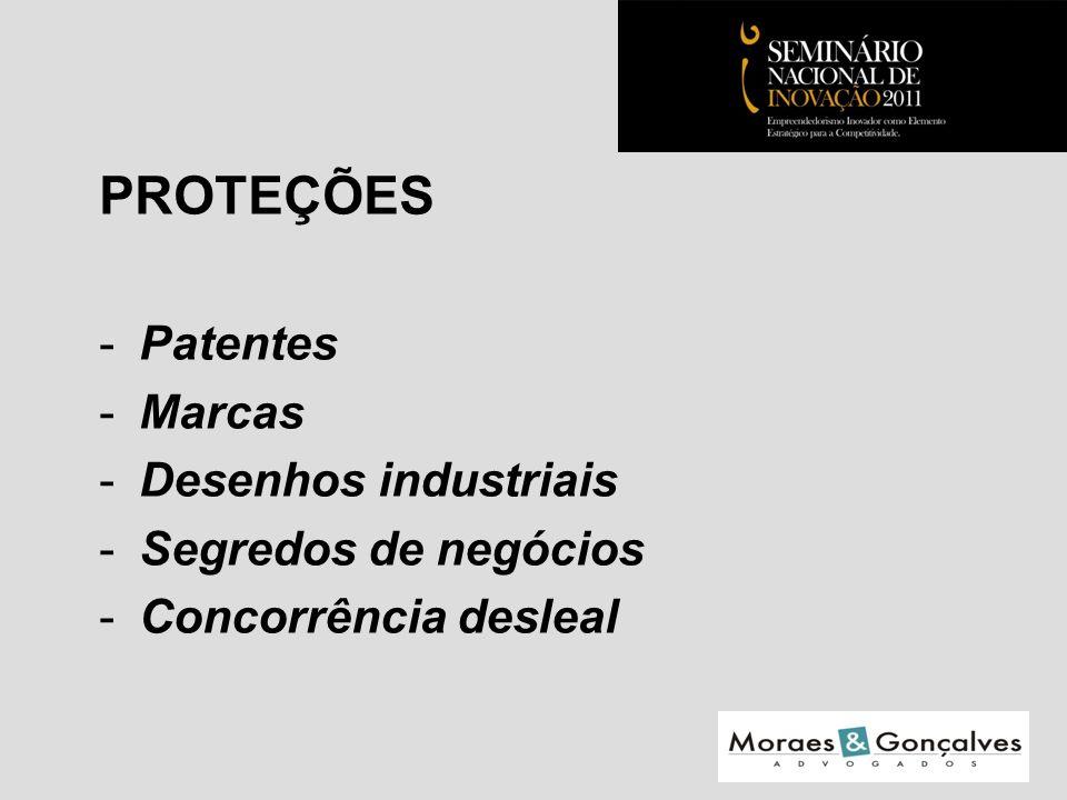 PROTEÇÕES -Patentes -Marcas -Desenhos industriais -Segredos de negócios -Concorrência desleal Seminário Nacional de Inovação 2011