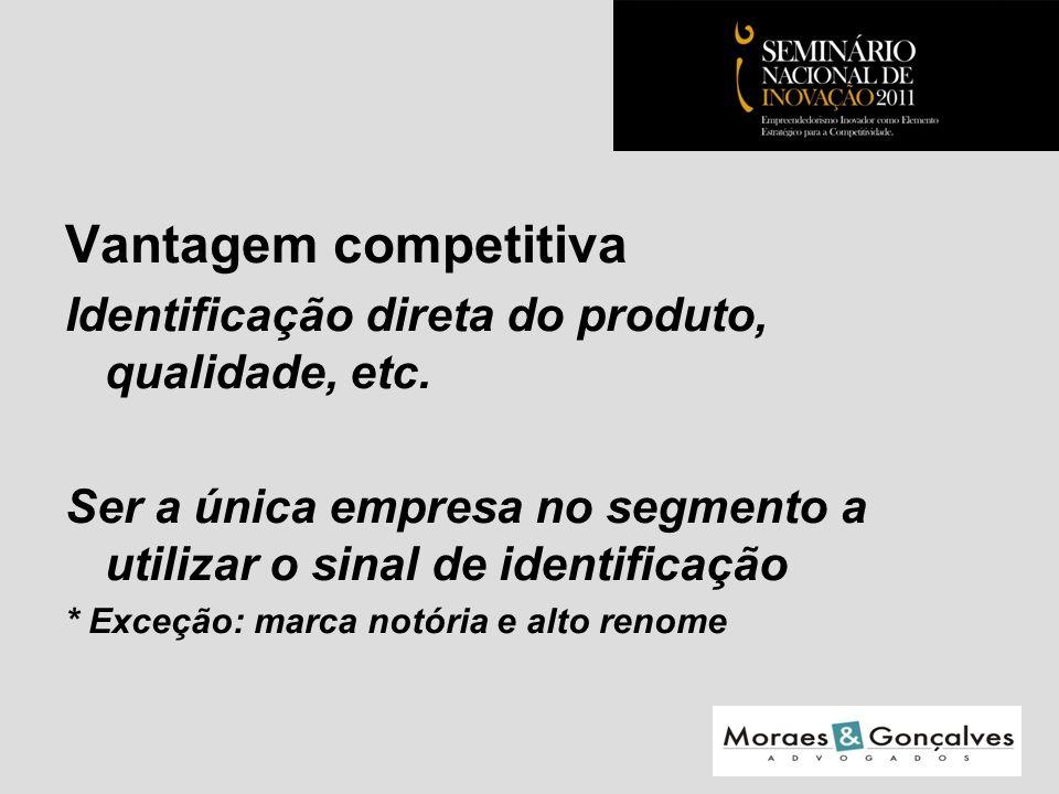 Vantagem competitiva Identificação direta do produto, qualidade, etc.