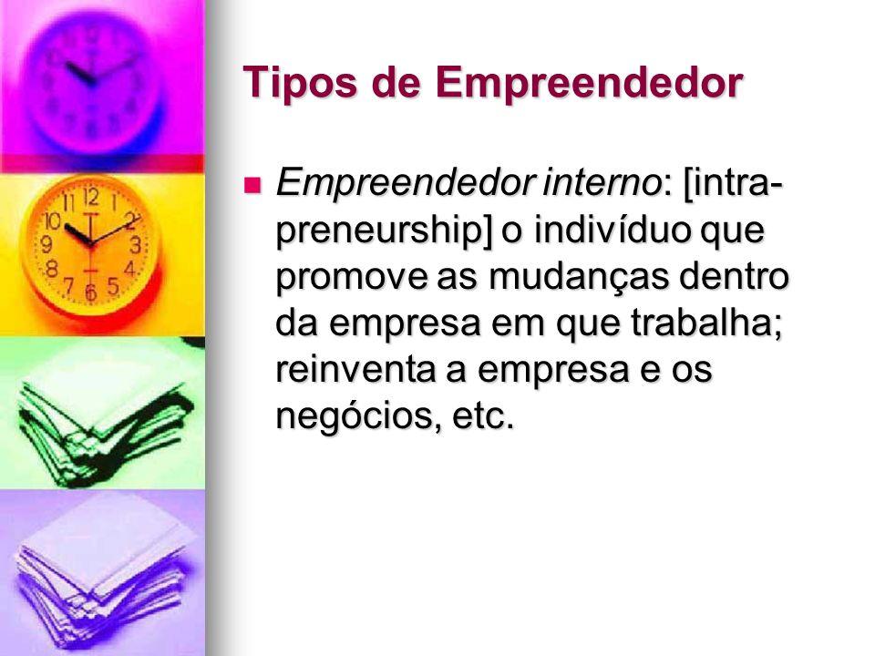Tipos de Empreendedor Empreendedor interno: [intra- preneurship] o indivíduo que promove as mudanças dentro da empresa em que trabalha; reinventa a em