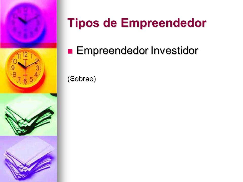 Tipos de Empreendedor Empreendedor Investidor Empreendedor Investidor(Sebrae)