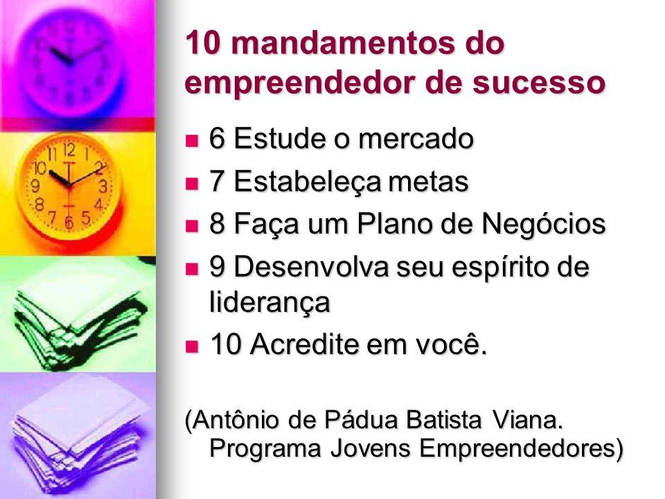 10 mandamentos do empreendedor de sucesso 6 Estude o mercado 6 Estude o mercado 7 Estabeleça metas 7 Estabeleça metas 8 Faça um Plano de Negócios 8 Fa