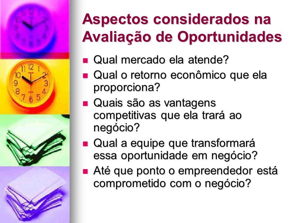 Aspectos considerados na Avaliação de Oportunidades Qual mercado ela atende? Qual mercado ela atende? Qual o retorno econômico que ela proporciona? Qu