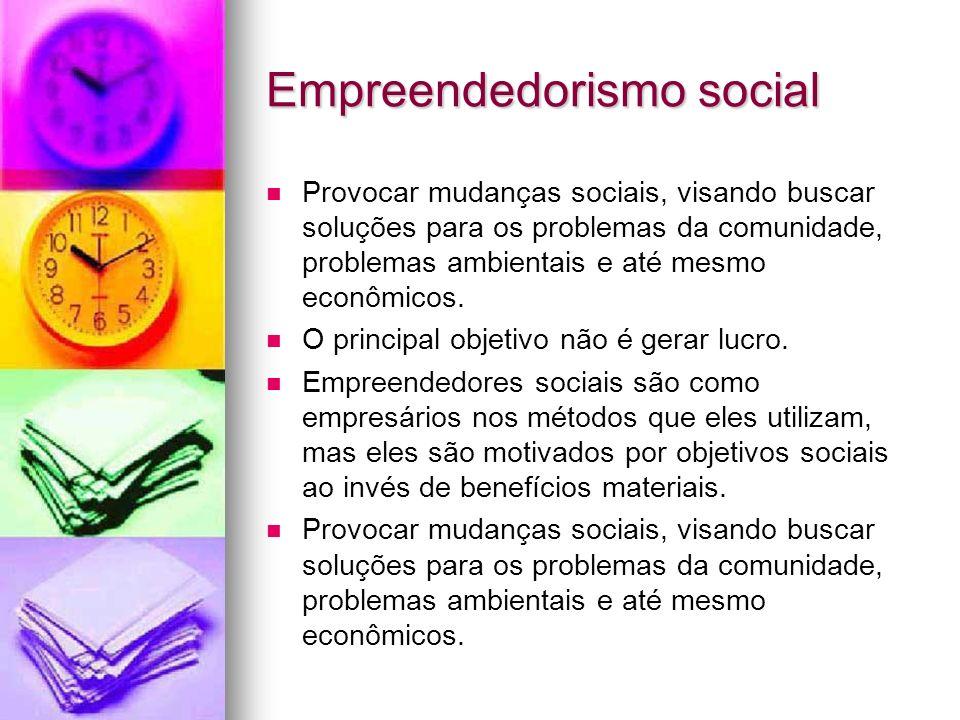 Empreendedorismo social Provocar mudanças sociais, visando buscar soluções para os problemas da comunidade, problemas ambientais e até mesmo econômico
