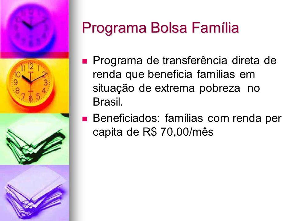 Programa Bolsa Família Programa de transferência direta de renda que beneficia famílias em situação de extrema pobreza no Brasil. Beneficiados: famíli