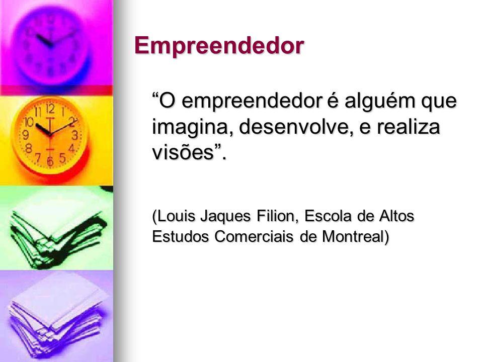 Empreendedor O empreendedor é alguém que imagina, desenvolve, e realiza visões. (Louis Jaques Filion, Escola de Altos Estudos Comerciais de Montreal)
