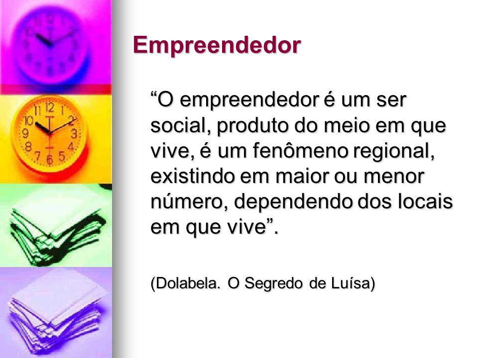 Empreendedor O empreendedor é um ser social, produto do meio em que vive, é um fenômeno regional, existindo em maior ou menor número, dependendo dos l
