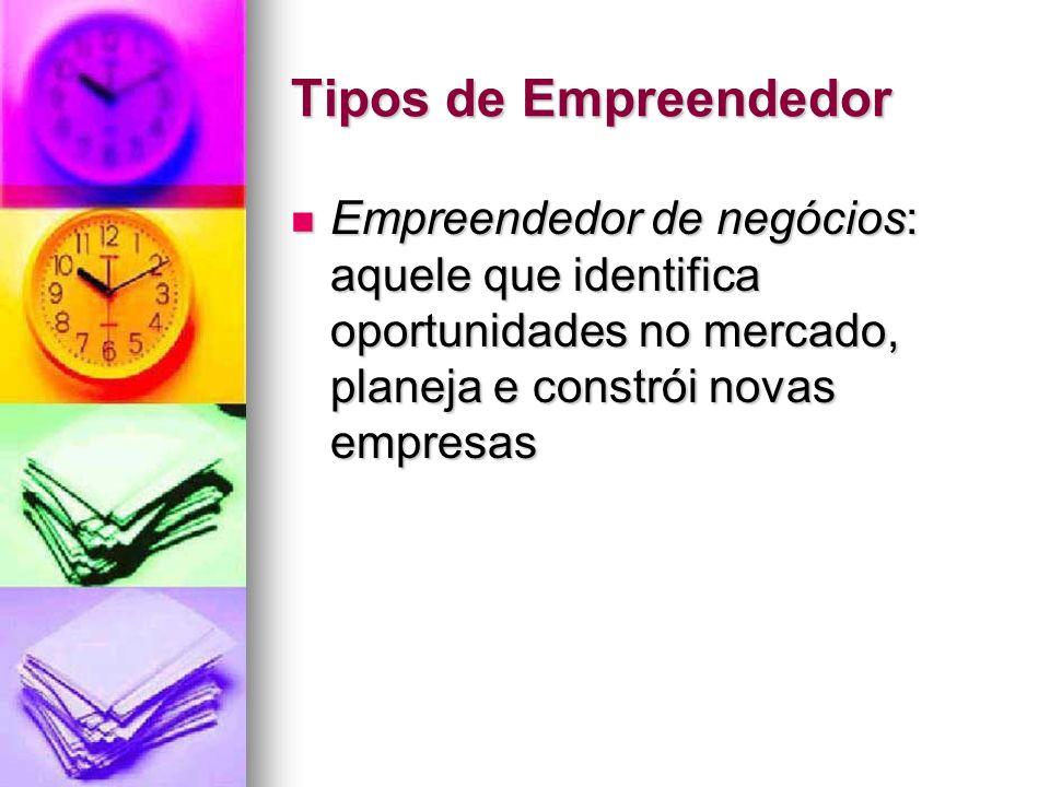 Tipos de Empreendedor Empreendedor de negócios: aquele que identifica oportunidades no mercado, planeja e constrói novas empresas Empreendedor de negó