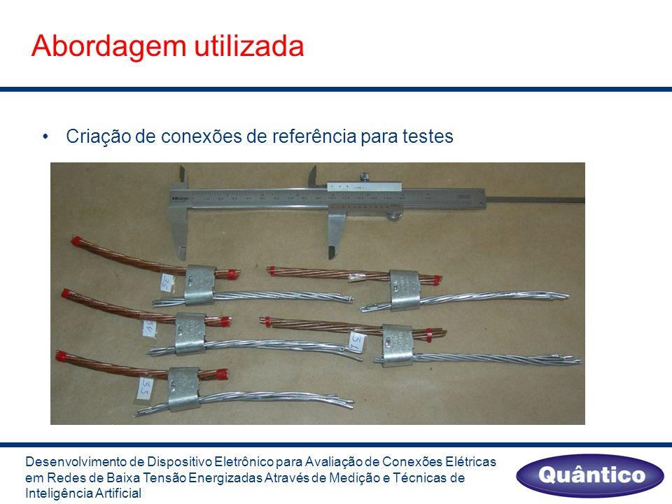 Abordagem utilizada Desenvolvimento de Dispositivo Eletrônico para Avaliação de Conexões Elétricas em Redes de Baixa Tensão Energizadas Através de Medição e Técnicas de Inteligência Artificial Criação de conexões de referência para testes