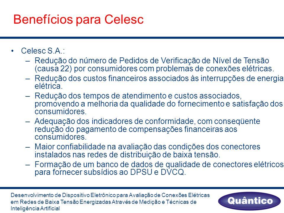 Benefícios para Celesc Celesc S.A.: –Redução do número de Pedidos de Verificação de Nível de Tensão (causa 22) por consumidores com problemas de conexões elétricas.