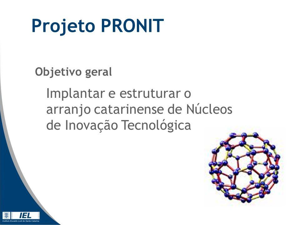Projeto PRONIT Objetivo geral Implantar e estruturar o arranjo catarinense de Núcleos de Inovação Tecnológica