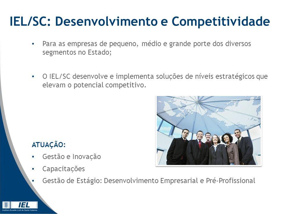 IEL/SC: Desenvolvimento e Competitividade Para as empresas de pequeno, médio e grande porte dos diversos segmentos no Estado; O IEL/SC desenvolve e implementa soluções de níveis estratégicos que elevam o potencial competitivo.