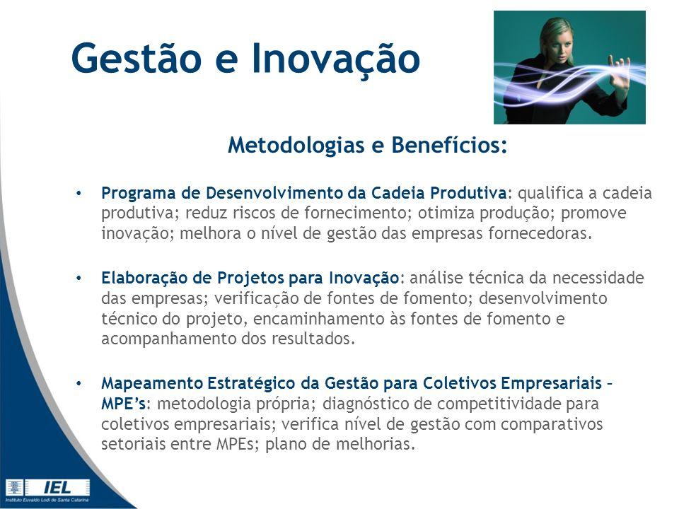 Gestão e Inovação Metodologias e Benefícios: Programa de Desenvolvimento da Cadeia Produtiva: qualifica a cadeia produtiva; reduz riscos de fornecimento; otimiza produção; promove inovação; melhora o nível de gestão das empresas fornecedoras.