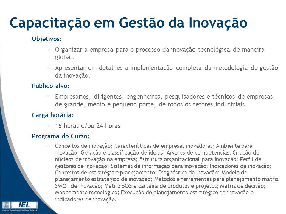Capacitação em Gestão da Inovação Objetivos: -Organizar a empresa para o processo da inovação tecnológica de maneira global.