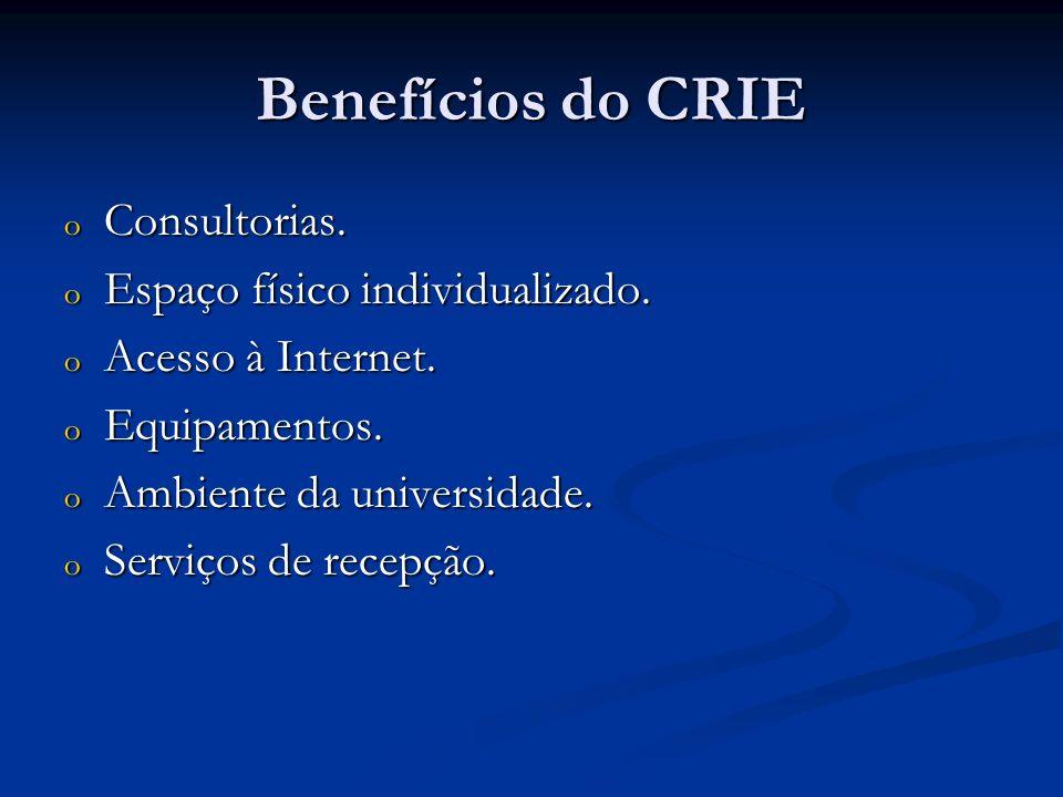 Benefícios do CRIE o Consultorias. o Espaço físico individualizado. o Acesso à Internet. o Equipamentos. o Ambiente da universidade. o Serviços de rec