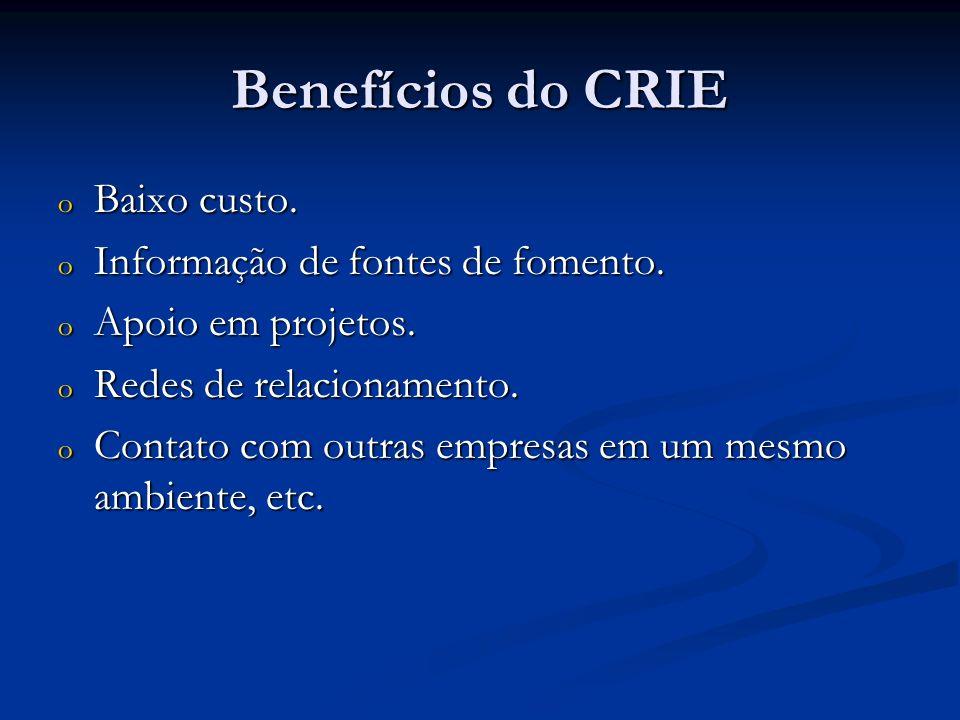 Benefícios do CRIE o Baixo custo. o Informação de fontes de fomento. o Apoio em projetos. o Redes de relacionamento. o Contato com outras empresas em