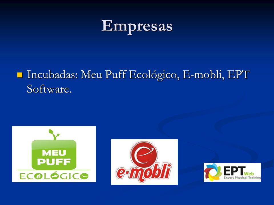 Empresas Incubadas: Meu Puff Ecológico, E-mobli, EPT Software.