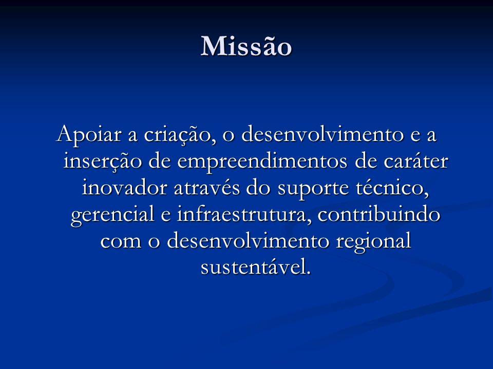 Missão Apoiar a criação, o desenvolvimento e a inserção de empreendimentos de caráter inovador através do suporte técnico, gerencial e infraestrutura,