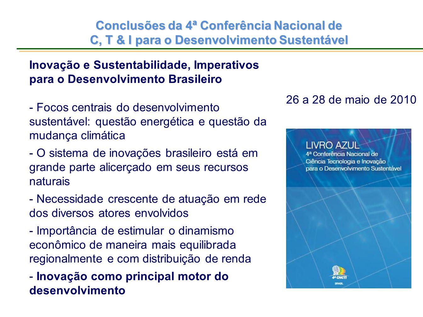 Conclusões da 4ª Conferência Nacional de C, T & I para o Desenvolvimento Sustentável Inovação e Sustentabilidade, Imperativos para o Desenvolvimento B
