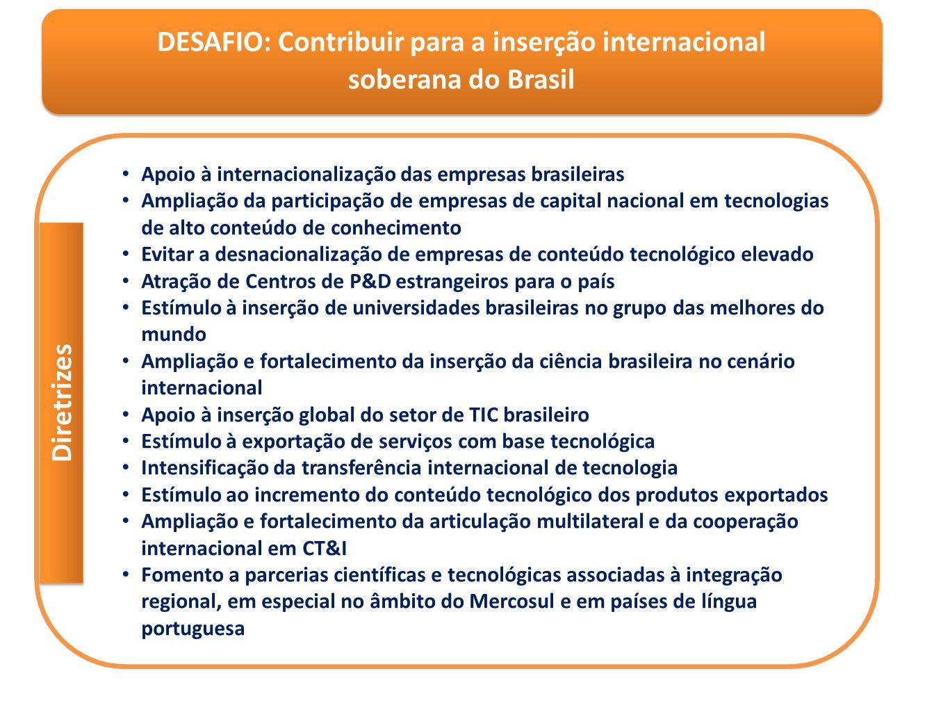 DESAFIO: Contribuir para a inserção internacional soberana do Brasil DESAFIO: Contribuir para a inserção internacional soberana do Brasil Apoio à inte