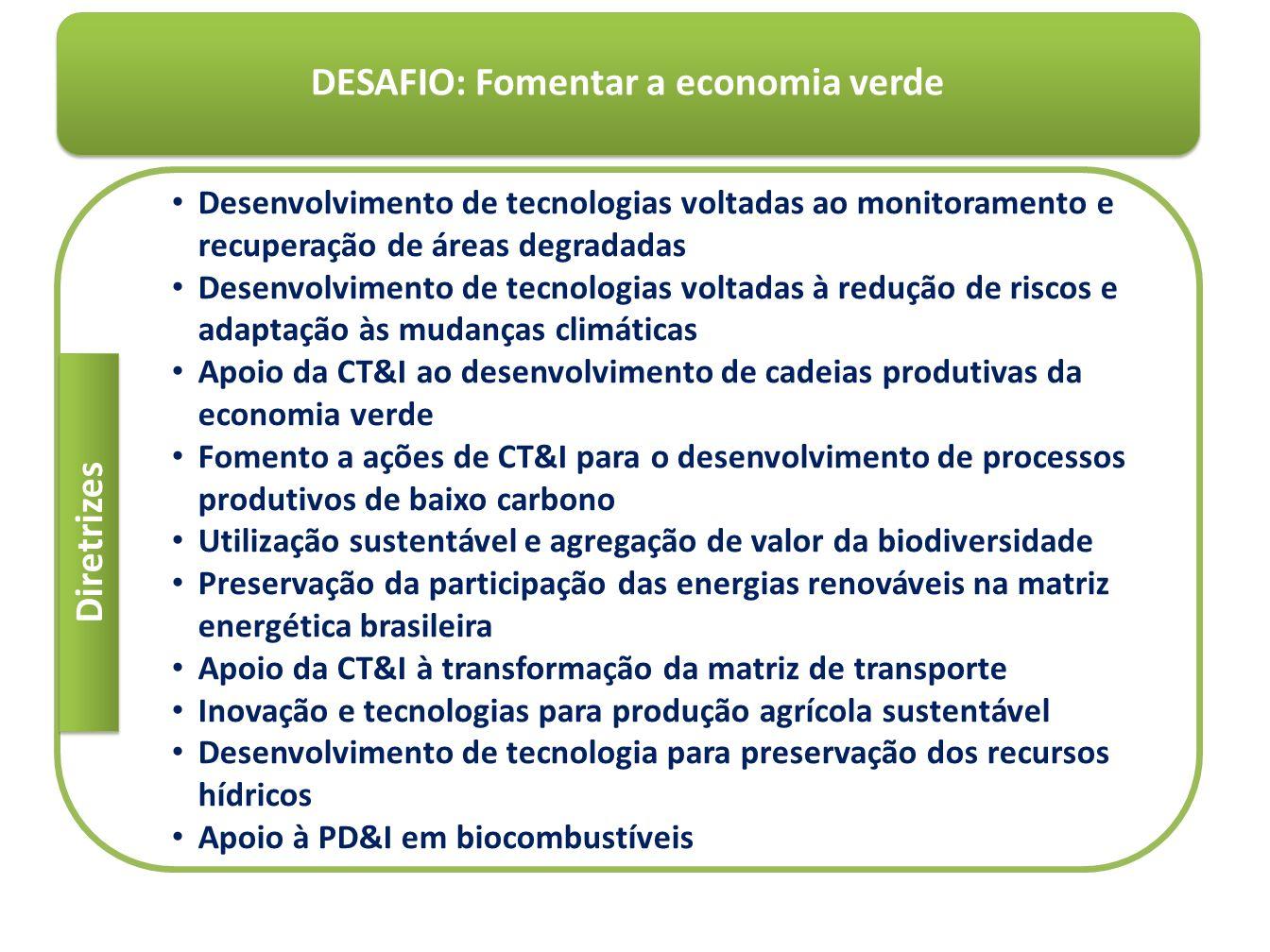 DESAFIO: Fomentar a economia verde Desenvolvimento de tecnologias voltadas ao monitoramento e recuperação de áreas degradadas Desenvolvimento de tecno