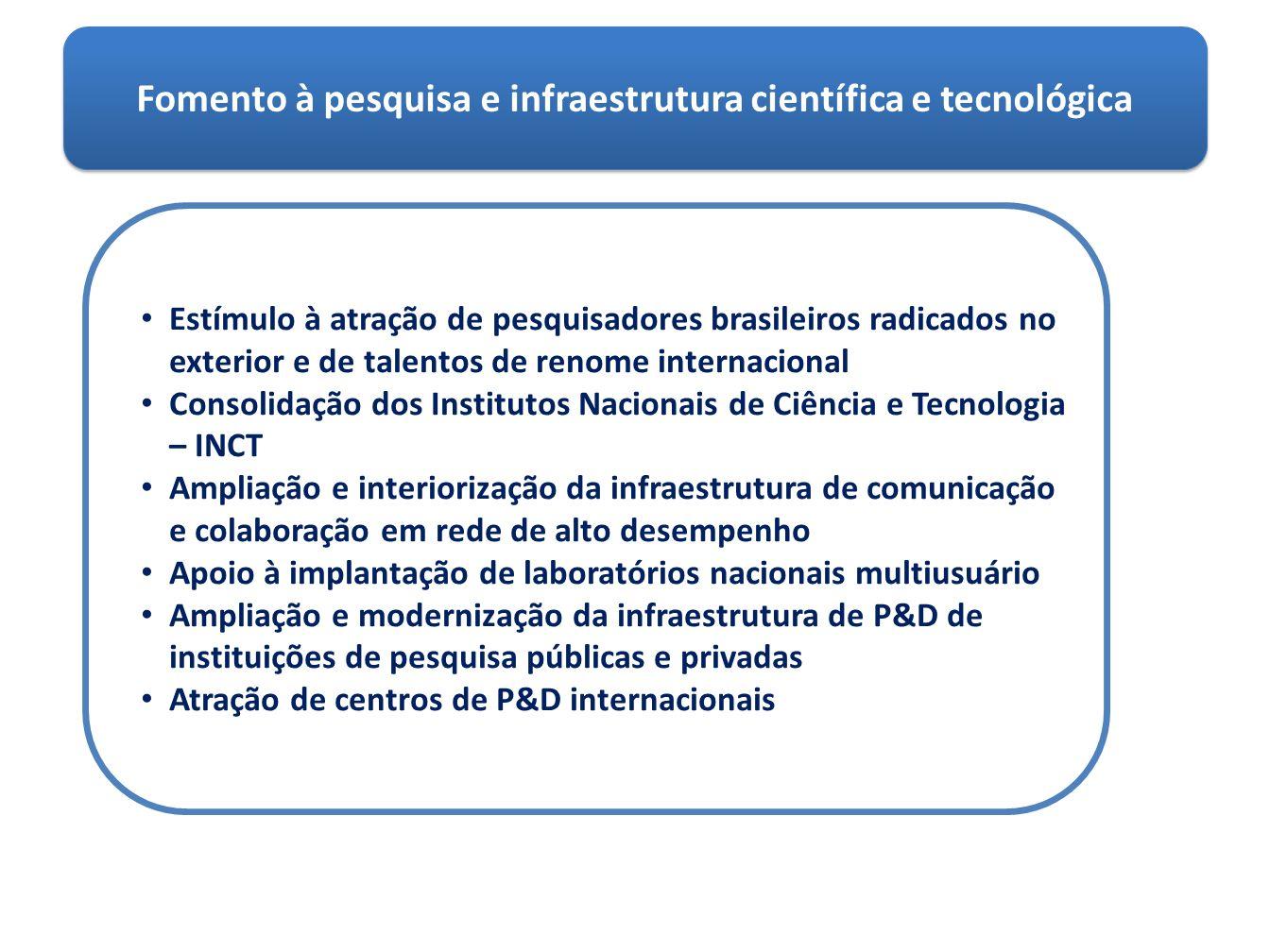 Fomento à pesquisa e infraestrutura científica e tecnológica Estímulo à atração de pesquisadores brasileiros radicados no exterior e de talentos de re
