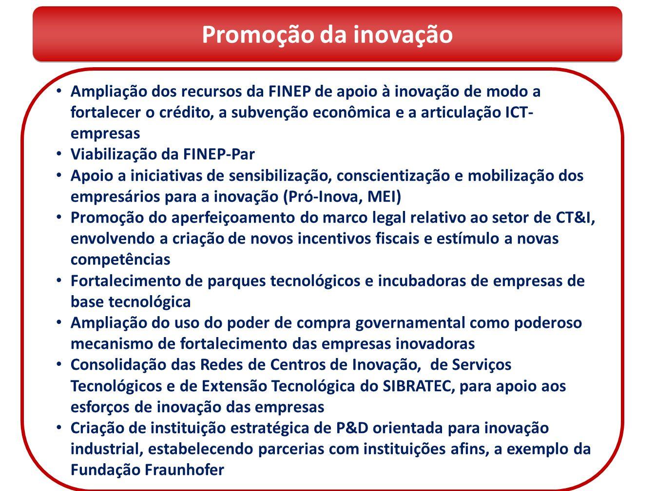 Ampliação dos recursos da FINEP de apoio à inovação de modo a fortalecer o crédito, a subvenção econômica e a articulação ICT- empresas Viabilização d