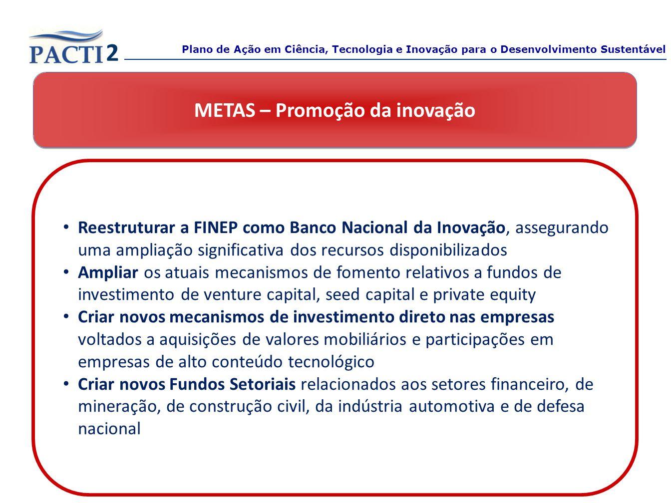 METAS – Promoção da inovação Reestruturar a FINEP como Banco Nacional da Inovação, assegurando uma ampliação significativa dos recursos disponibilizad