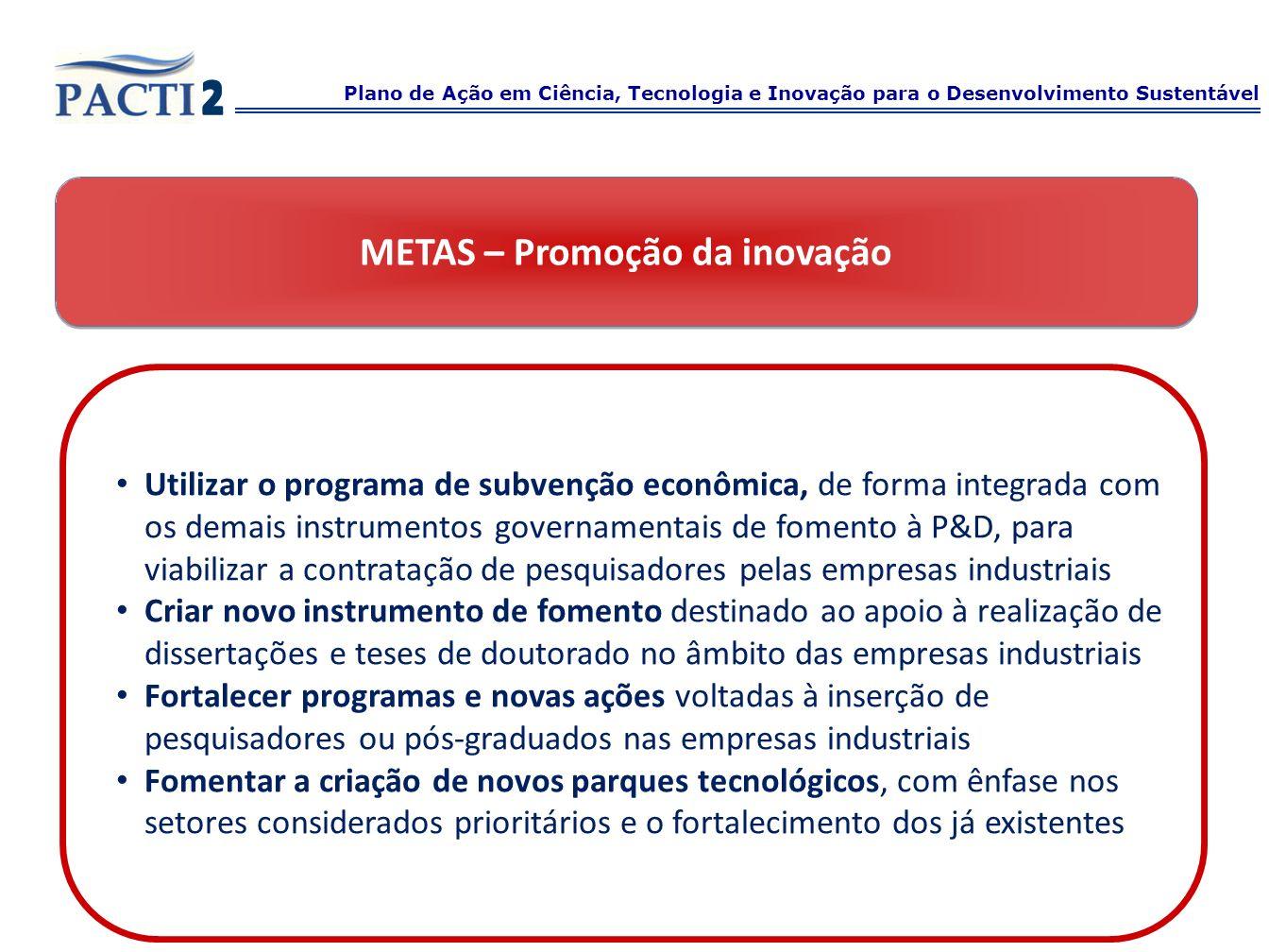 METAS – Promoção da inovação Utilizar o programa de subvenção econômica, de forma integrada com os demais instrumentos governamentais de fomento à P&D
