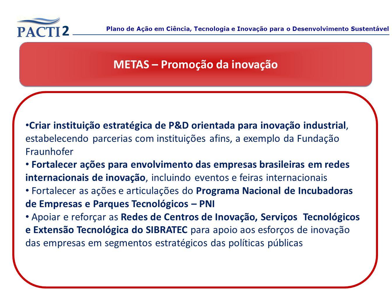 METAS – Promoção da inovação Criar instituição estratégica de P&D orientada para inovação industrial, estabelecendo parcerias com instituições afins,