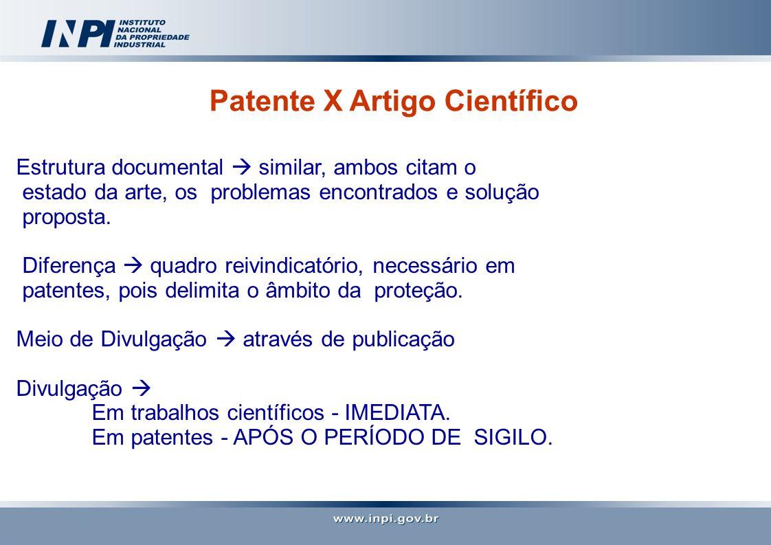 Patente X Artigo Científico Estrutura documental similar, ambos citam o estado da arte, os problemas encontrados e solução proposta. Diferença quadro