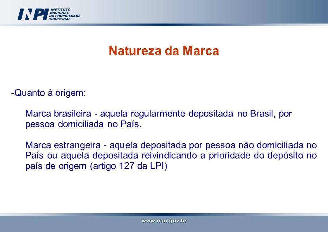 Natureza da Marca -Quanto à origem: Marca brasileira - aquela regularmente depositada no Brasil, por pessoa domiciliada no País. Marca estrangeira - a
