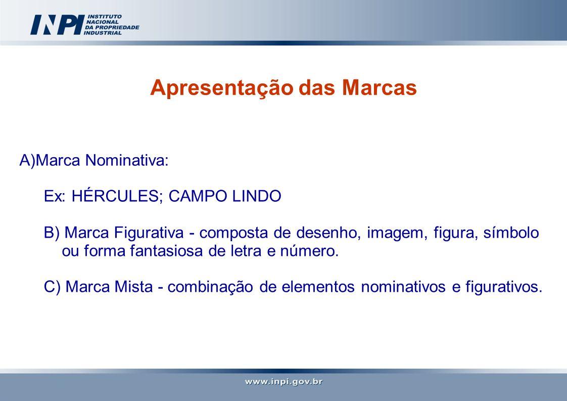 Apresentação das Marcas A)Marca Nominativa: Ex: HÉRCULES; CAMPO LINDO B) Marca Figurativa - composta de desenho, imagem, figura, símbolo ou forma fant