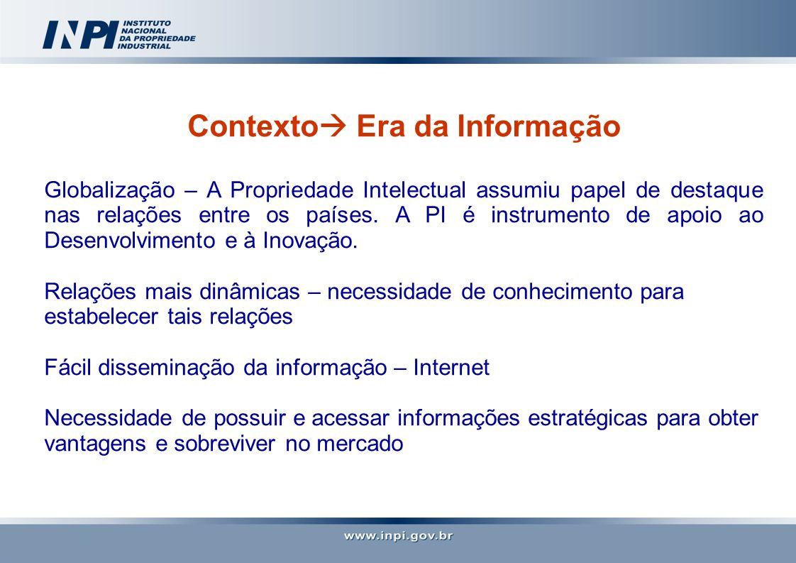 Contexto Era da Informação Globalização – A Propriedade Intelectual assumiu papel de destaque nas relações entre os países. A PI é instrumento de apoi