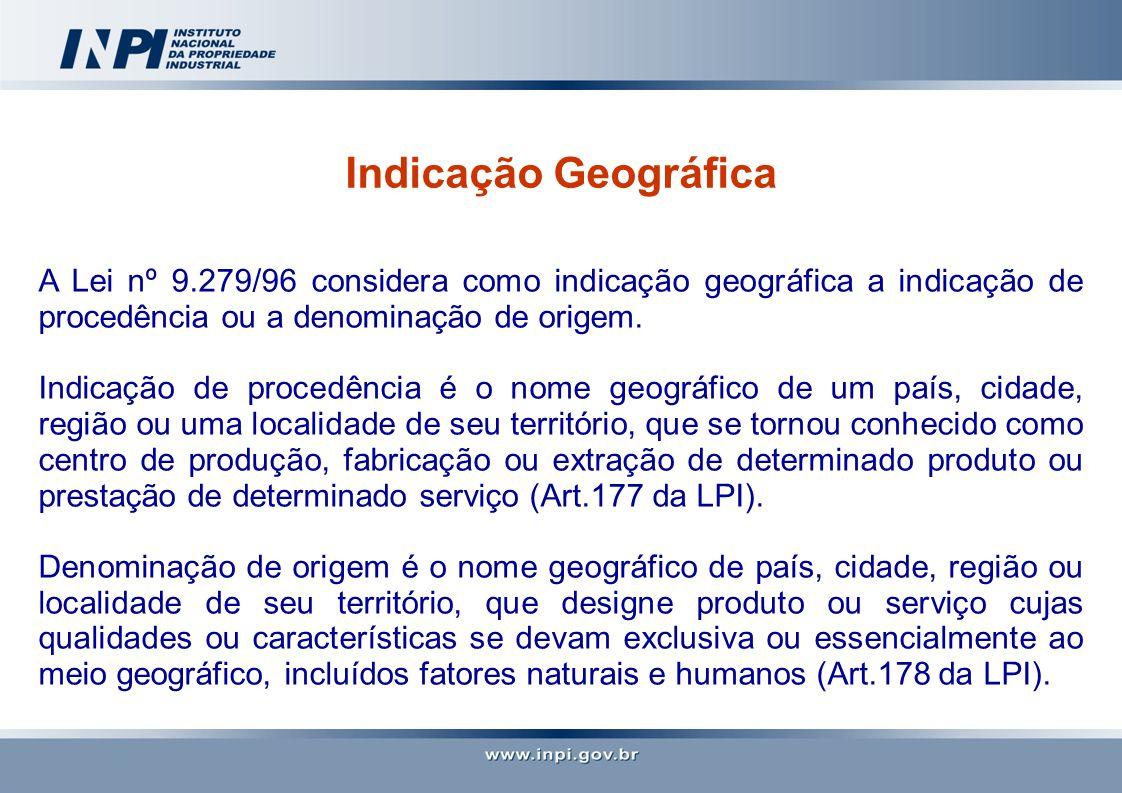 Indicação Geográfica A Lei nº 9.279/96 considera como indicação geográfica a indicação de procedência ou a denominação de origem. Indicação de procedê