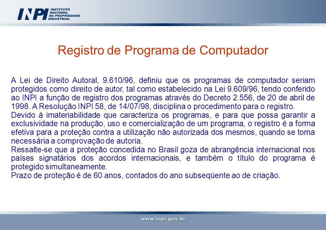 Registro de Programa de Computador A Lei de Direito Autoral, 9.610/96, definiu que os programas de computador seriam protegidos como direito de autor,