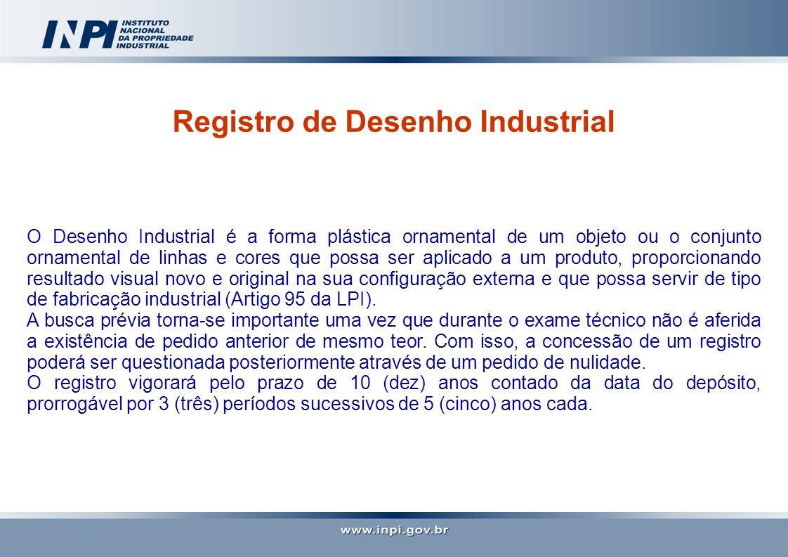 Registro de Desenho Industrial O Desenho Industrial é a forma plástica ornamental de um objeto ou o conjunto ornamental de linhas e cores que possa se