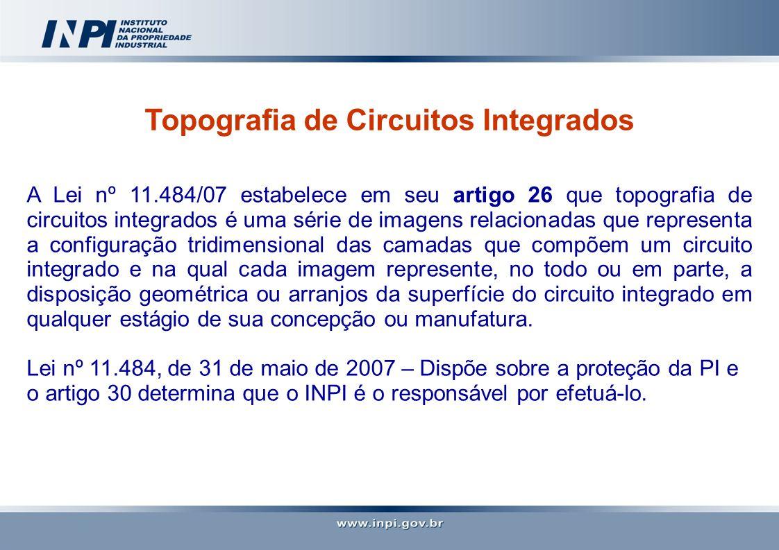 Topografia de Circuitos Integrados A Lei nº 11.484/07 estabelece em seu artigo 26 que topografia de circuitos integrados é uma série de imagens relaci
