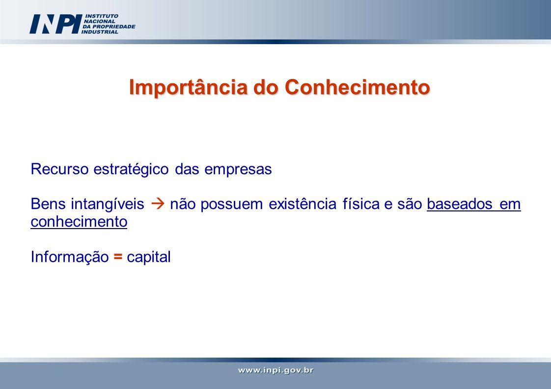 Importância do Conhecimento Recurso estratégico das empresas Bens intangíveis não possuem existência física e são baseados em conhecimento Informação