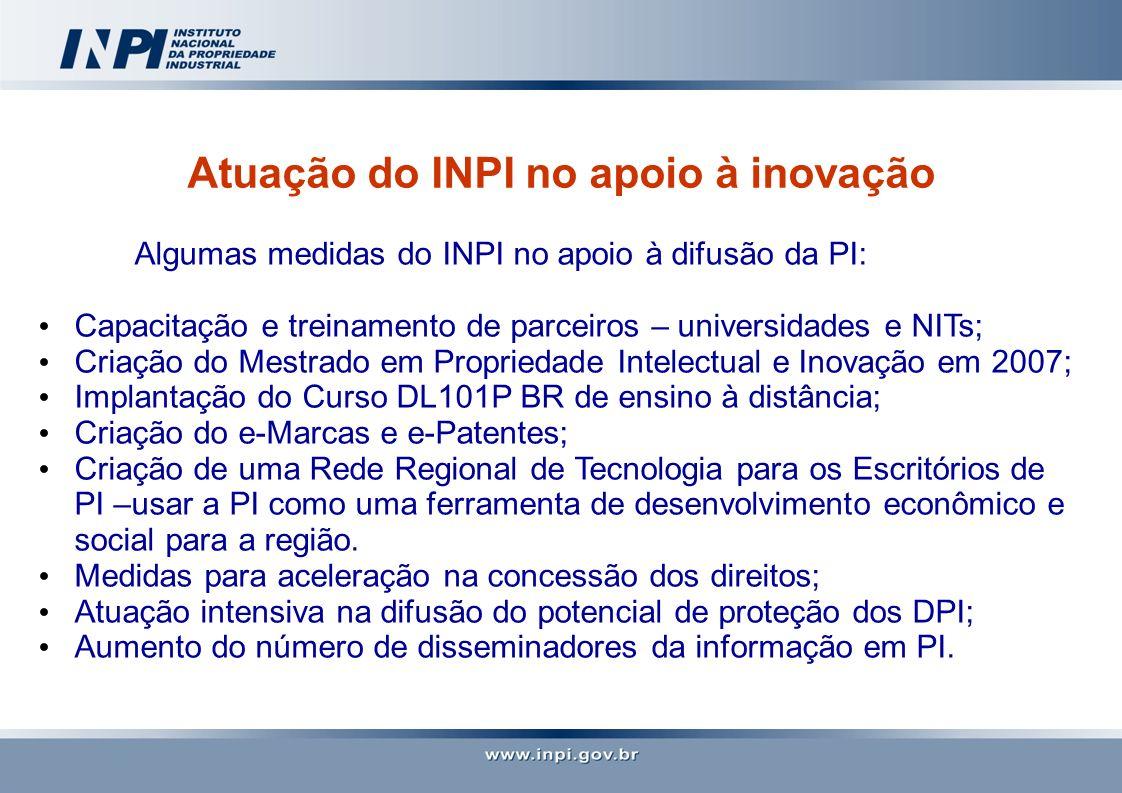 Atuação do INPI no apoio à inovação Algumas medidas do INPI no apoio à difusão da PI: Capacitação e treinamento de parceiros – universidades e NITs; C