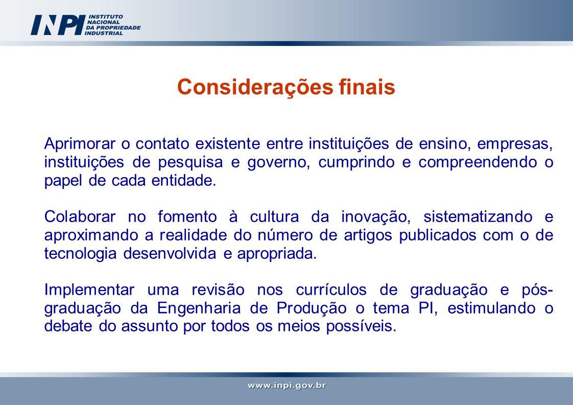Considerações finais Aprimorar o contato existente entre instituições de ensino, empresas, instituições de pesquisa e governo, cumprindo e compreenden
