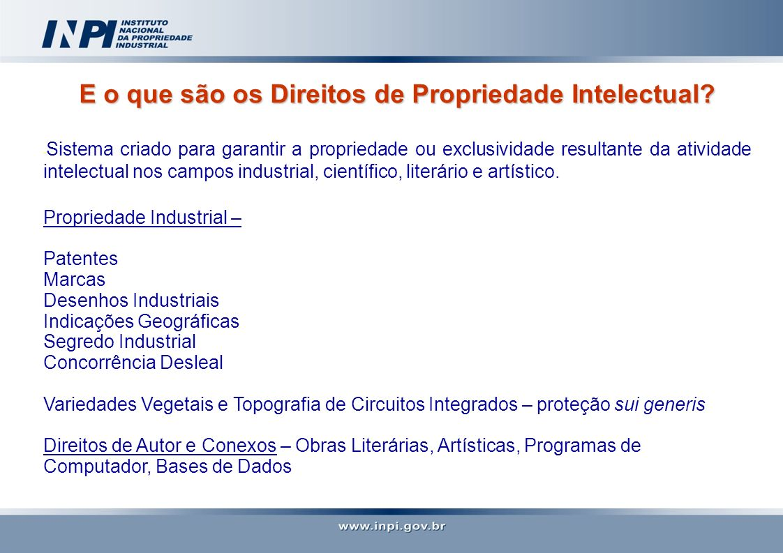 Quadro legislativo da Propriedade Intelectual no Brasil Propriedade Industrial : Lei da Propriedade Industrial nº 9.279/96 - Concessão de Patentes, Registro de Marcas, de Desenhos Industriais, Indicações Geográficas, Repressão à Concorrência Desleal.