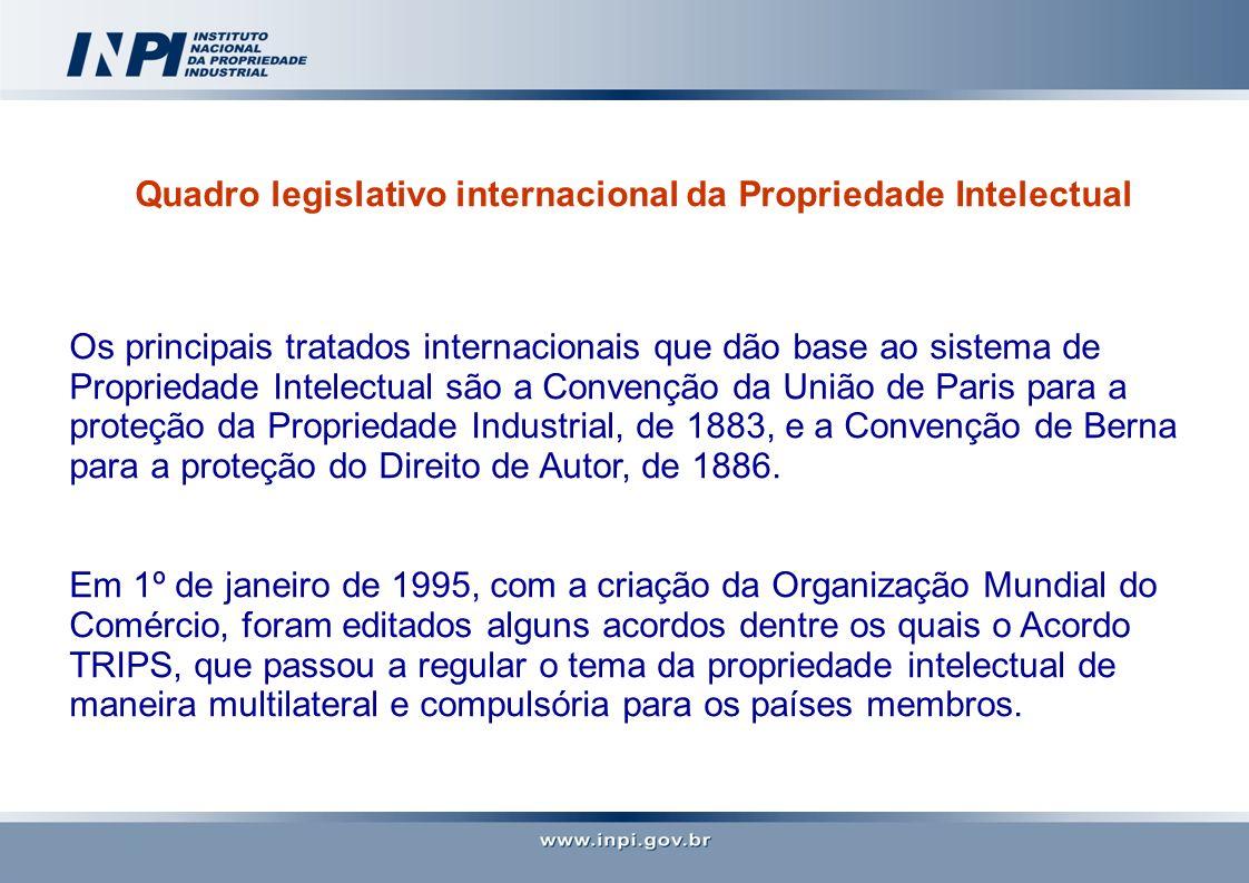 Quadro legislativo internacional da Propriedade Intelectual Os principais tratados internacionais que dão base ao sistema de Propriedade Intelectual s