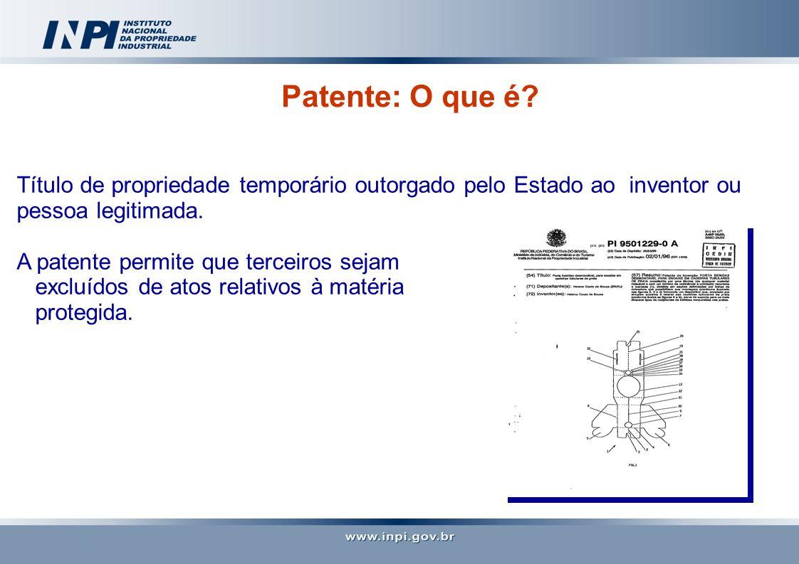 Patente: O que é? Título de propriedade temporário outorgado pelo Estado ao inventor ou pessoa legitimada. A patente permite que terceiros sejam exclu