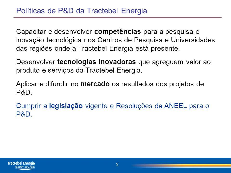 6 A Tractebel Energia possui 22 Usinas espalhadas pelas cinco regiões do Brasil.