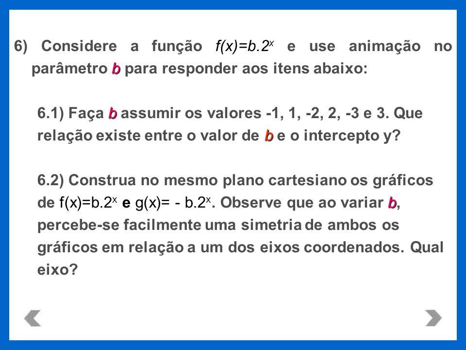 f(x)=b.2 x b 6) Considere a função f(x)=b.2 x e use animação no parâmetro b para responder aos itens abaixo: b 6.1) Faça b assumir os valores -1, 1, -