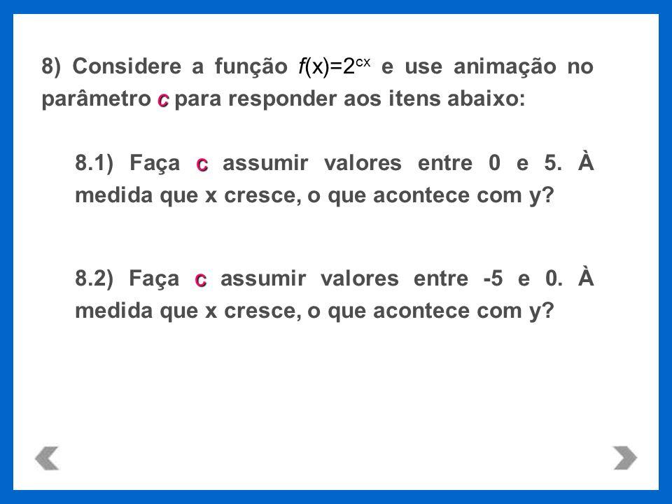 f(x)=2 cx c 8) Considere a função f(x)=2 cx e use animação no parâmetro c para responder aos itens abaixo: c 8.1) Faça c assumir valores entre 0 e 5.
