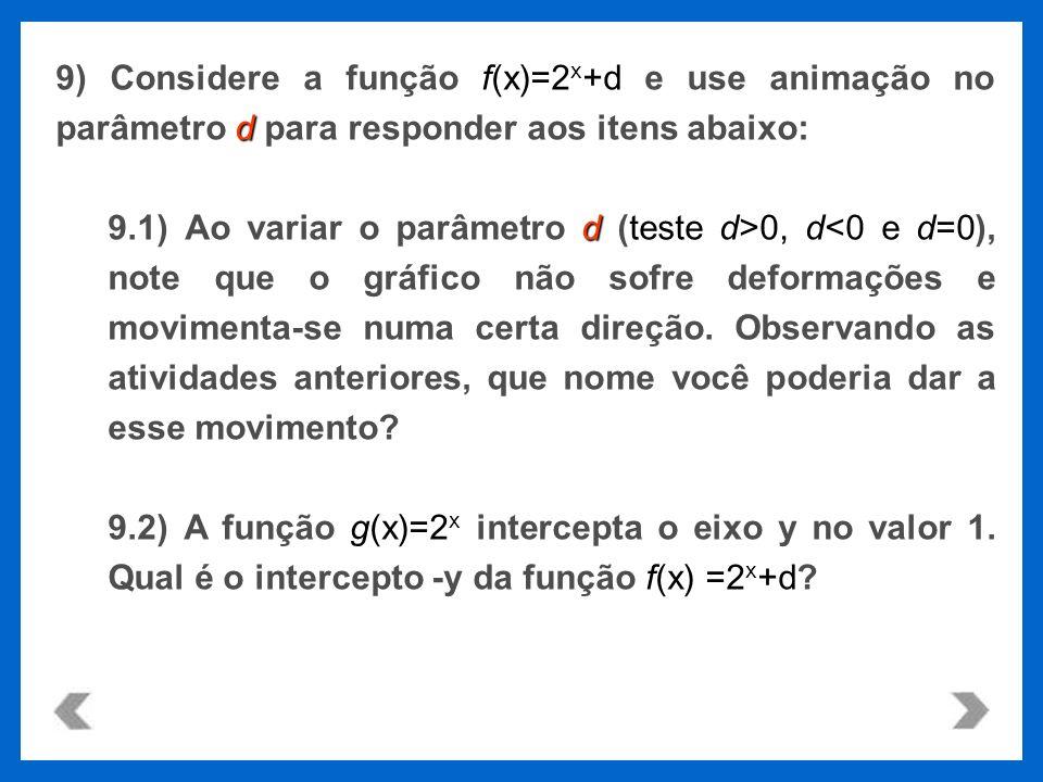 f(x)=2 x +d d 9) Considere a função f(x)=2 x +d e use animação no parâmetro d para responder aos itens abaixo: dteste d>0, d 0, d<0 e d=0), note que o