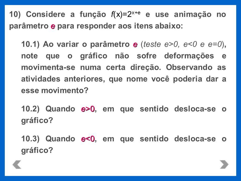 f(x)=2 x+e e 10) Considere a função f(x)=2 x+e e use animação no parâmetro e para responder aos itens abaixo: e 10.1) Ao variar o parâmetro e (teste e