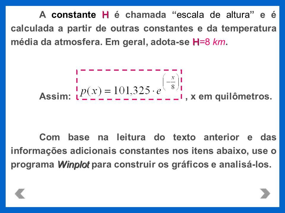 Hescala de altura H A constante H é chamada escala de altura e é calculada a partir de outras constantes e da temperatura média da atmosfera. Em geral