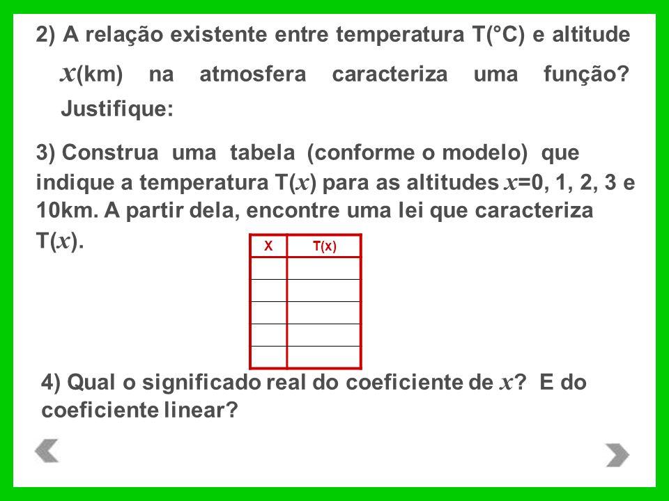 3) Construa uma tabela (conforme o modelo) que indique a temperatura T( x ) para as altitudes x =0, 1, 2, 3 e 10km. A partir dela, encontre uma lei qu